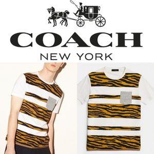 (NWT) COACH Men's Tiger Applique Stripe Tee